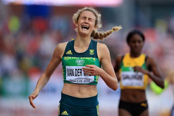 Zeney van der Walt of South Africa takes gold in the 400m hurdles at the IAAF World U20 Championships Tampere 2018 (Getty Images)