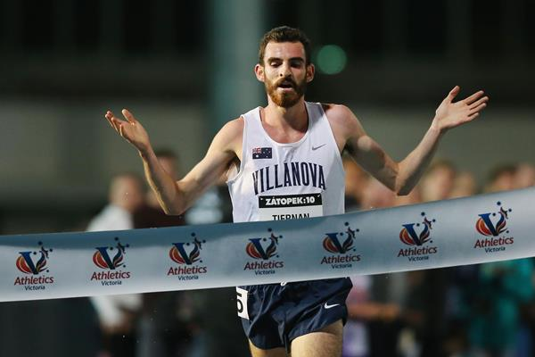 Patrick Tiernan wins the Zatopek 10 in Melbourne in his 10,000m debut (Getty Images)