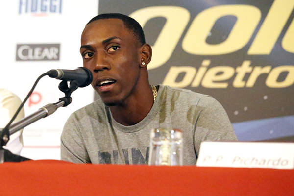 Pedro Pablo Pichardo at the press conference for the IAAF Diamond League meeting in Rome (Gladys von der Laage)