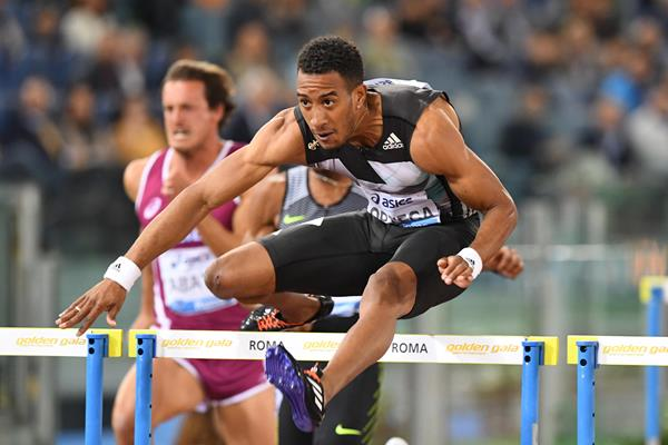 Orlando Ortega winning the 110m hurdles at the 2016 IAAF Diamond League meeting in Rome  (Gladys Chai)