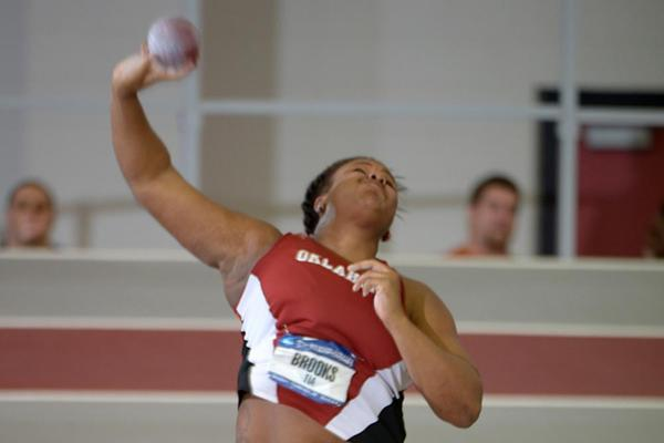 Tia Brooks unleashes a throw of 19.22m to win the women's Shot at the NCAA Indoor Championships (Kirby Lee)