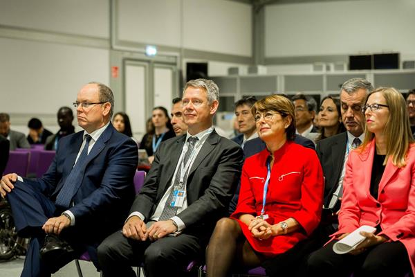 HSH Prince Albert of Monaco (l) at the panel 'Sports for Climate Action' at COP24 in Katowice  (cop24.gov.pl)