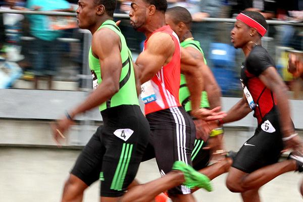 Steve Mullings on the way to victory over Tyson Gay in the New York 100m (Victah Sailer)
