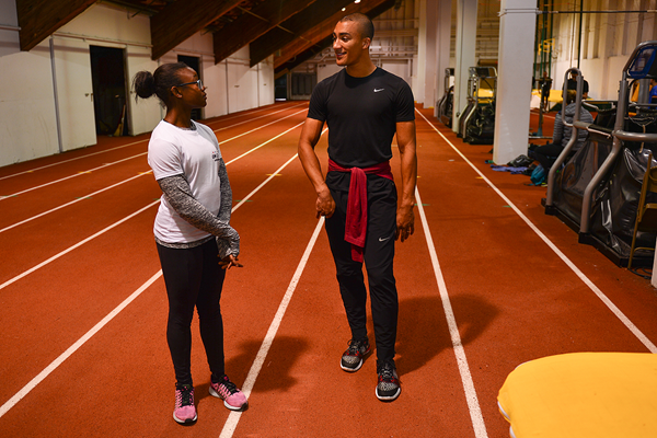 Ashton Eaton talks to Khalifa St Fort (Phil Johnson / TrackTown USA)
