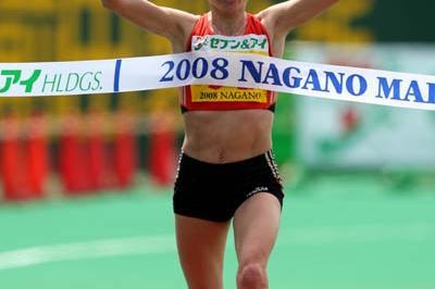 Alevtina Ivanova taking the win at the Nagano Marathon (Kazutaka Eguchi/Agence SHOT)