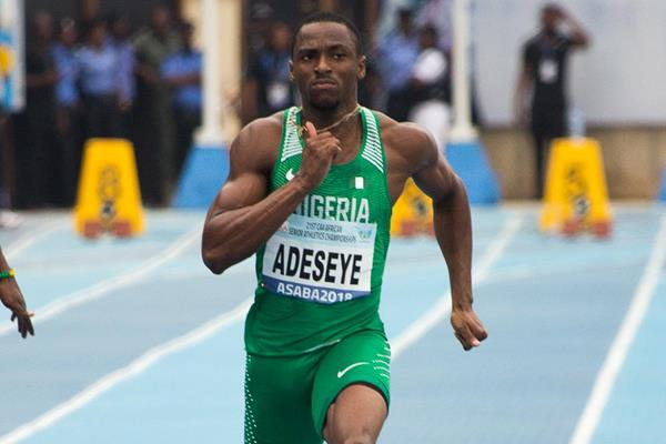 Seye Ogunlewe in the opening round of the 100m at the 2018 African Championships (Bob Ramsak)