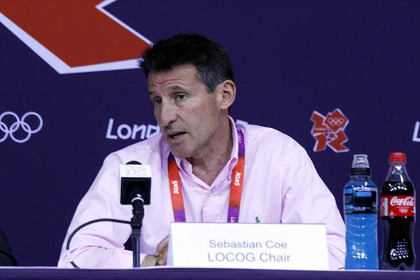 Sebastian Coe at the IAAF Press conference in London (Bob Ramsak)