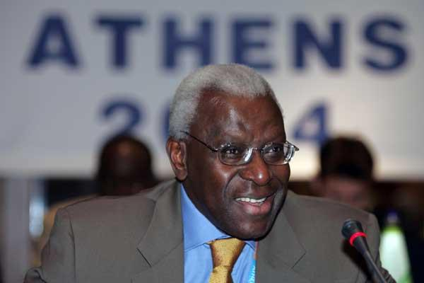 IAAF President Lamine Diack at the IAAF Council meeting in Athens, 15 August 2004 (Getty Images)
