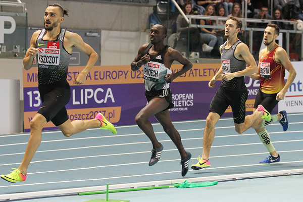 Nicholas Kipkoech (centre), the eventual winner of the 800m at the IAAF World Indoor Tour meeting in Torun (Jean-Pierre Durand)