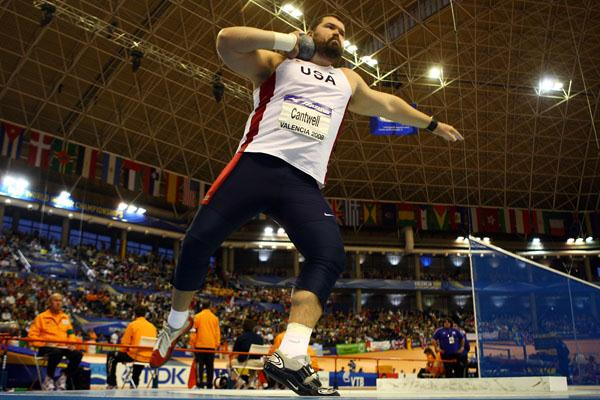 Christian Cantwell on his way to winning shot gold at the IAAF World Indoor Championships (Getty Images)