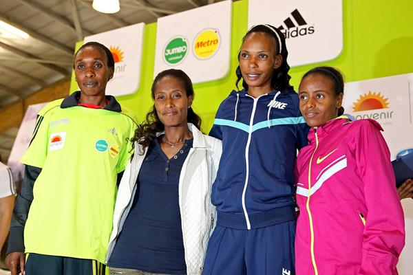 Gladys Cherono, Gelete Burka, Rita Jeptoo and Mare Dibaba ahead of the 2014 Bogota International Half Marathon (Victah Sailer / Organisers)