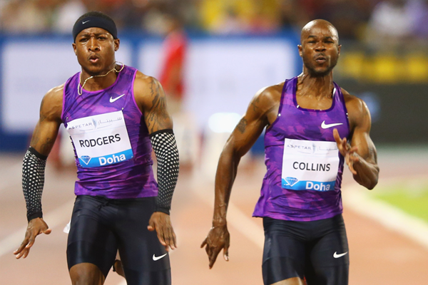 Mike Rodgers and Kim Collins in the 100m at the IAAF Diamond League meeting in Doha (Getty Images)