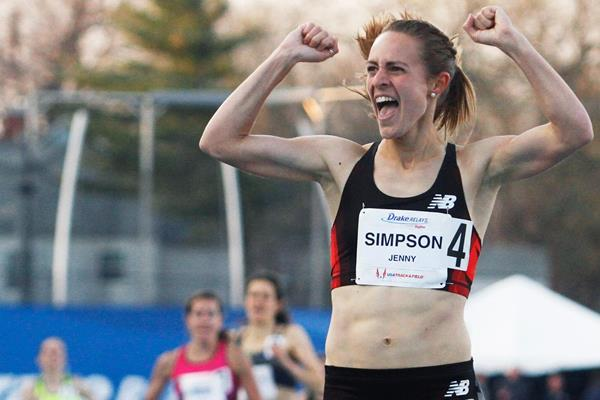 Jenny Simpson celebrates her victory in the 1500m (Getty Images)