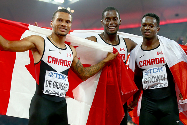 The Canadian 4x100m team at the IAAF World Championships Beijing 2015 (Getty Images)