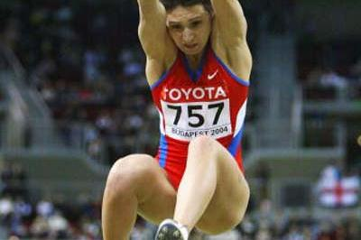 Tatyana Lebedeva (RUS) wins the Long Jump final in Budapest (Getty Images)