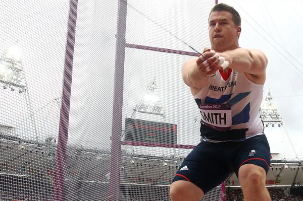 Alexander Smith of Great Britain competes during the Men's Hammer Throw qualification on Day 7 of the London 2012 Olympic Games at Olympic Stadium on August 3, 2012 (Getty Images)