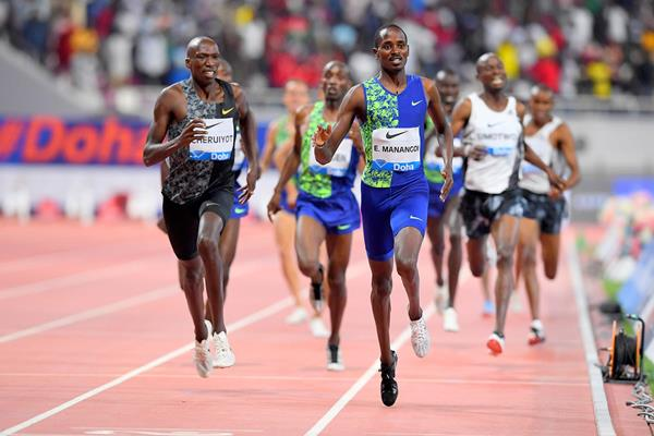 Elijah Manangoi wins the 1500m at the IAAF Diamond League meeting in Doha (Jiro Mochizuki)