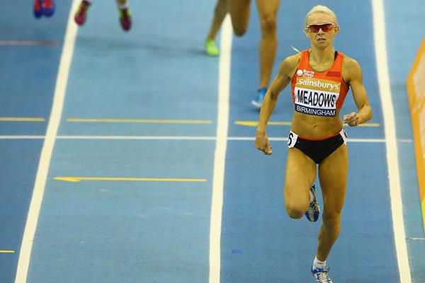 Jenny Meadows wins the 800m in Birmingham (Getty Images)