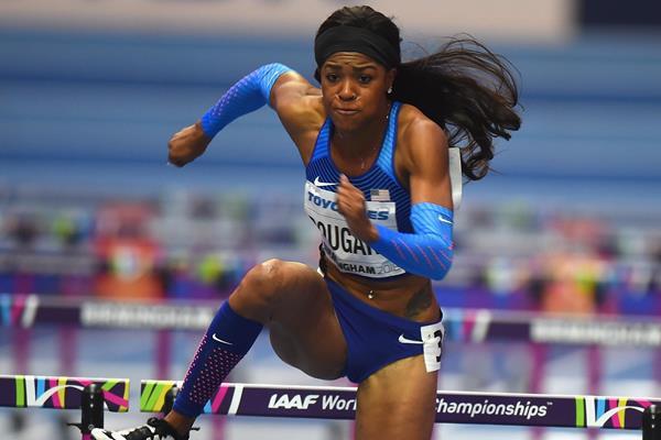 Erica Bougard in the pentathlon 60m hurdles in Birmingham (Getty Images)