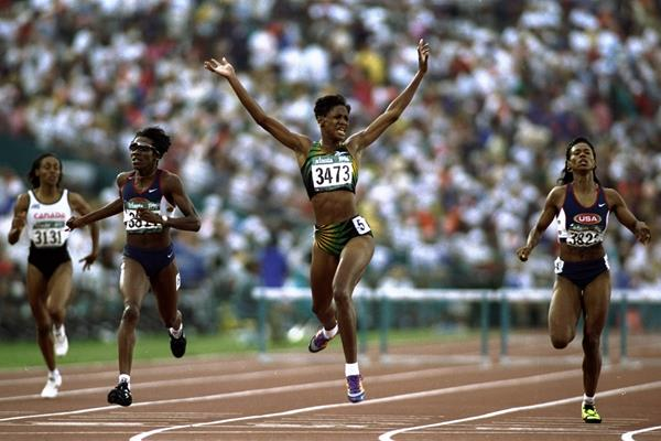 Deon Hemmings wins the 400m hurdles at the 1996 Olympic Games in Atlanta (Getty Images)