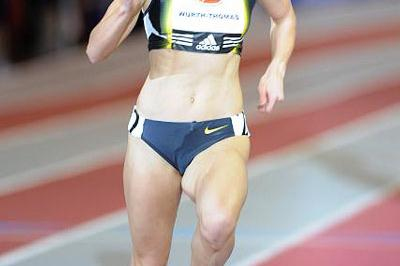 Christin Wurth-Thomas en route to her mile victory in Fayetteville (Kirby Lee)
