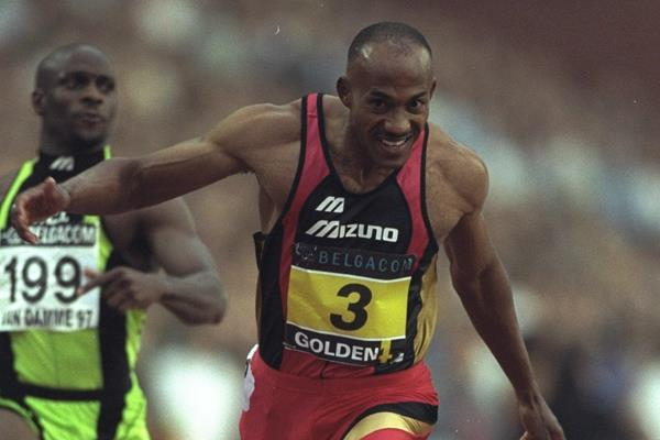 Frankie Fredericks at the 1997 IAAF Van Damme Memorial Grand Prix in Brussels (Getty Images)