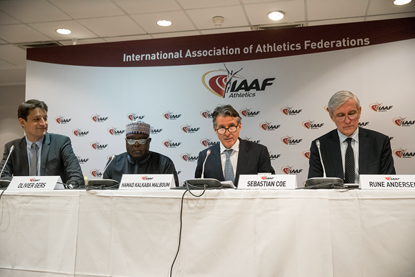 IAAF President Sebastian Coe speaking at the press conference following the 208th IAAF Council Meeting (Philippe Fitte / IAAF)