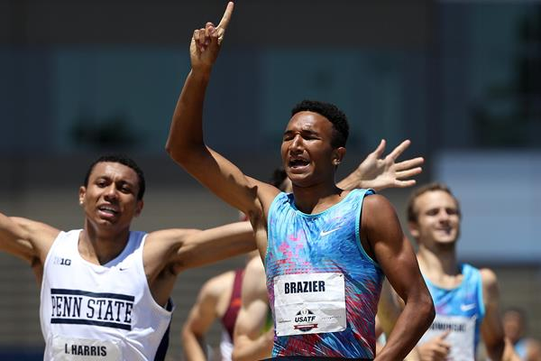 Donavan Brazier winning the 2017 US national 800m title (Getty Images)