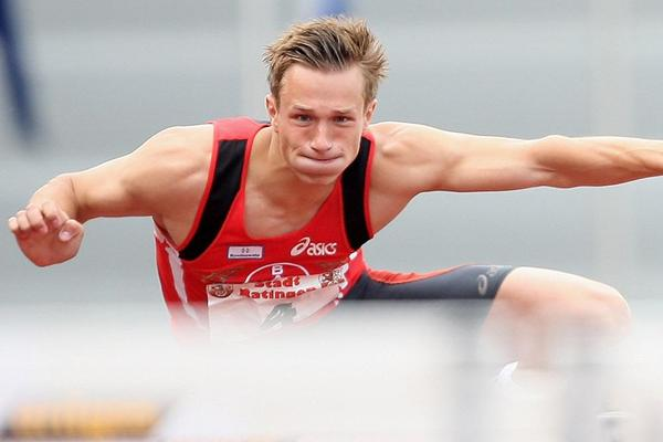 Decathlete Michael Schrader in action in the 110m Hurdles (Getty Images)