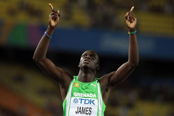 Kirani James celebrates his victory in the 400m (Getty Images)