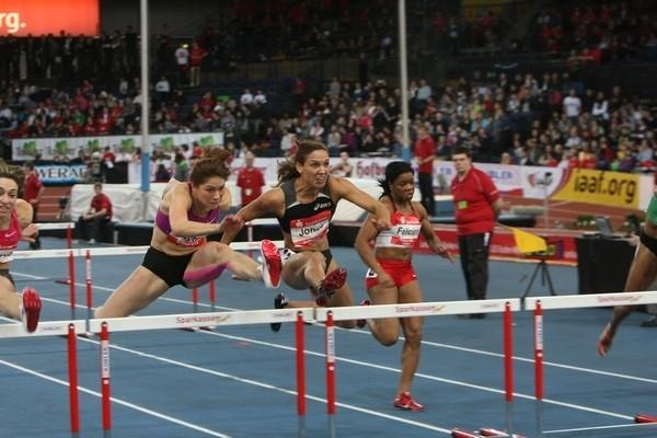 Carolin Nytra on the way to winning the women's 60m Hurdles at the 25th Sparkassen-Cup 2011 (organisers)
