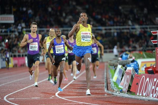 Ayanleh Souleiman winning the 1500m at the 2015 IAAF Diamond League meeting in Stockholm (Deca Text&Bild)