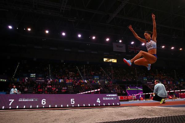 Katarina Johnson-Thompson in the pentathlon long jump at the IAAF World Indoor Championships Birmingham 2018 (Getty Images)