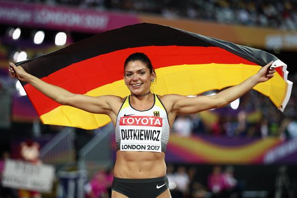 Pamela Dutkiewicz after winning the bronze medal in the 100m hurdles at the IAAF World Championships London 2017 (Getty Images)