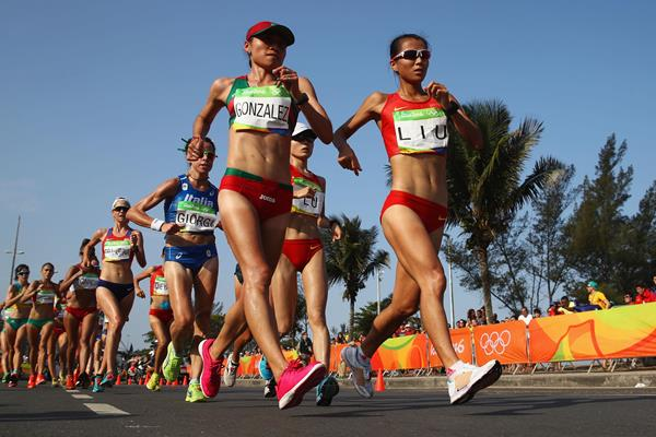 Liu Hong and Maria Guadalupe Gonzalez in the 20km race walk at the Rio 2016 Olympic Games (Getty Images)