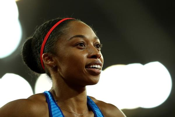 Allyson Felix after winning gold in the 4x400m at the IAAF World Championships London 2017 (Getty Images)