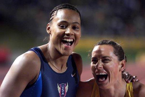 Marion Jones and Zhanna Pintusevich-Block (Getty Images Allsport)