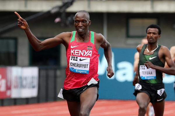 Timothy Cheruiyot, winner of the Bowerman Mile at the IAAF Diamond League meeting in Eugene (Victah Sailer)