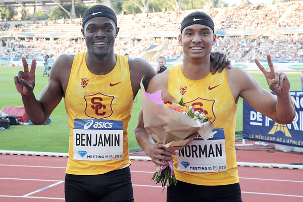 Michael Norman (right) and Rai Benjamin (left) after the 200m at the IAAF Diamond League meeting in Paris (Kirby Lee)