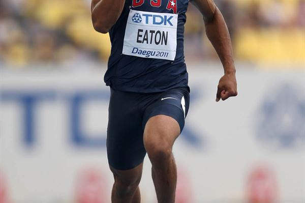 Ashton Eaton of the USA competes in the 100m in the men's Decathlon (Getty  Images)