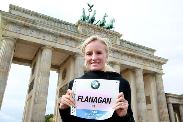 Shalane Flanagan ahead of the 2014 Berlin Marathon (organisers / www.photorun.com)
