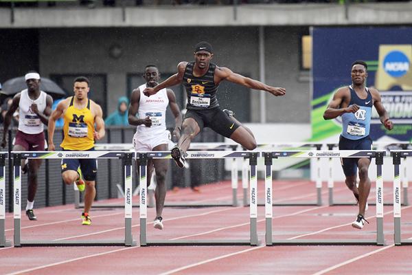 Rai Benjamin in the 400m hurdles at the NCAA Championships (Kirby Lee)