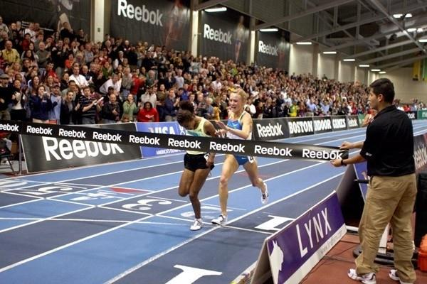 It doesn't get much closer than this! Sentayehu Ejigu nips Shalane Flanagan in the Boston 5000m (Victah Sailer)