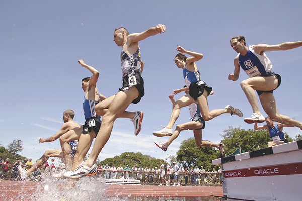 Steeplechasers in action in Stanford (Getty Images)