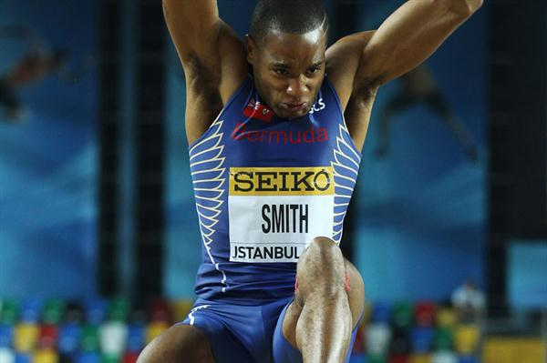 Tyrone Smith of Bermuda competes in the Men's Long Jump qualification during day one - WIC Istanbul (Getty Images)