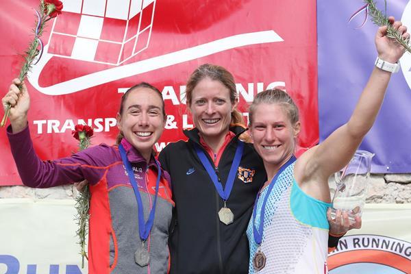 Women's 2016 Smarna Gora podium - runner-up Alice Gaggi, winner Andrea Mayr and third place finisher Karmen Klancnik (Smarna Gora organisers)