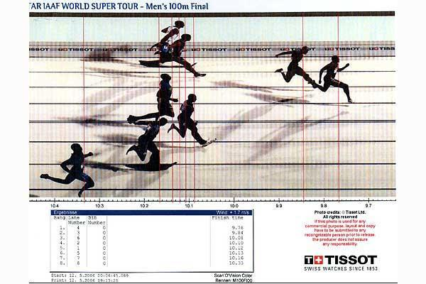 Doha, Qatar, 12 May 2006 - 100m photo-finish (Tissot Timing)