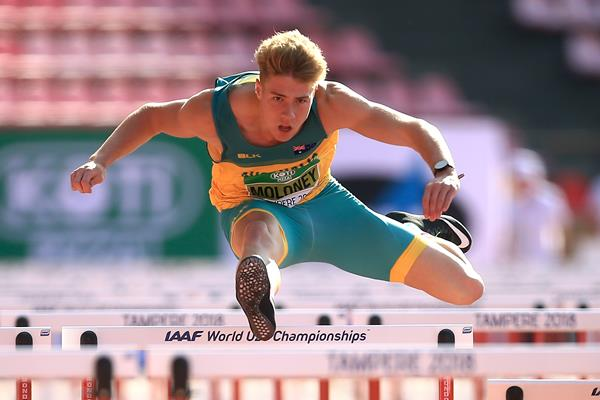 Australian Ashley Moloney in action during the men's decathlon 110m hurdles at the IAAF World U20 Championships Tampere 2018 (Getty Images)
