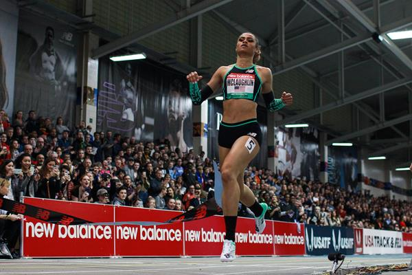 Sydney McLaughlin in action at the New Balance Indoor Grand Prix in Boston (Victah Sailer)