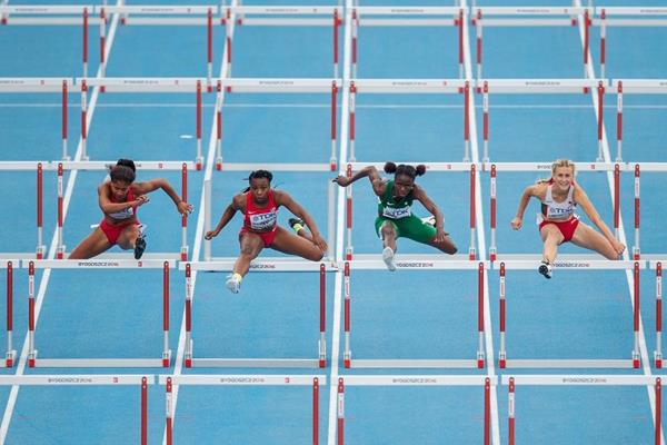 Tia Jones, Alexis Duncan, Tobi Amusan and Elvira Herman in the 100m hurdles final at the IAAF World U20 Championships Bydgoszcz 2016 (Getty Images)